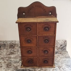 Antique Wooden 8 Drawer Spice Cabinet Early 1900s